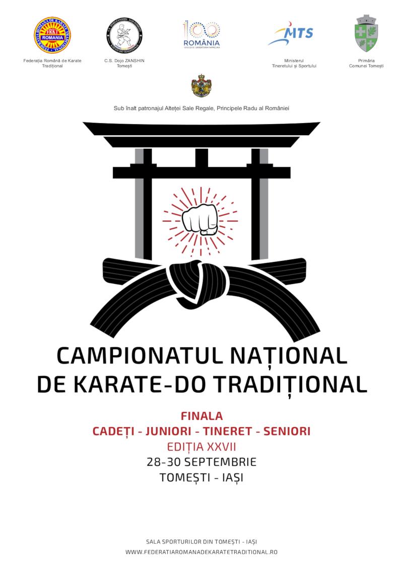 FINALA Campionatului National de Karate-Do Traditional pentru Cadeti, Juniori, Tineret si Seniori - editia a XXVII-a (shotokan 2018)